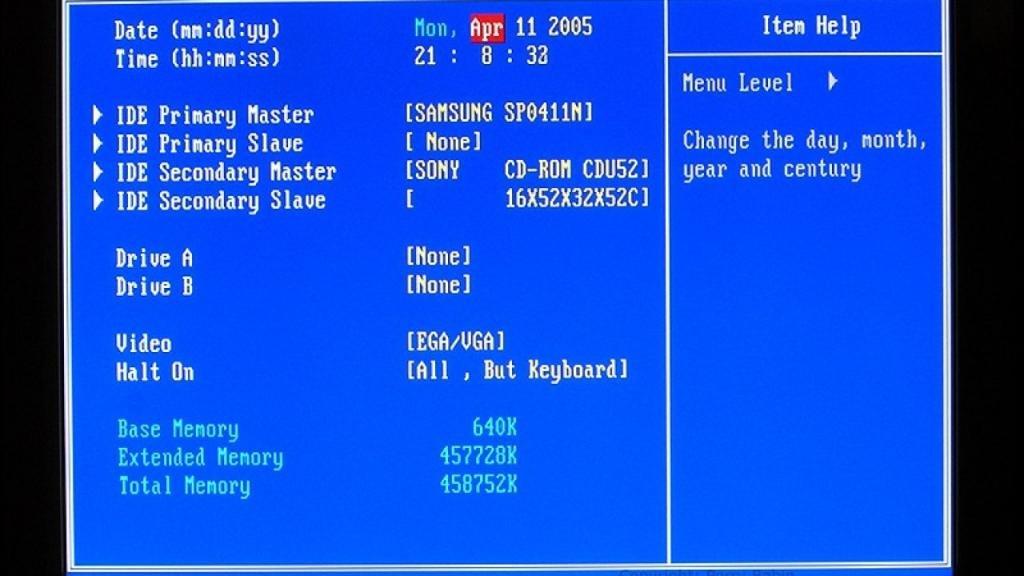 Настройка даты и времени в BIOS